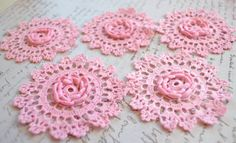 Scrap Crochet Doilies  Hand dyed  Baby Pink