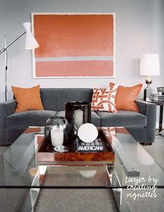Grey/neutral walls with warm accent. Stonington Grey (HC-170) with Buttered Yam Accent (AF-230). (Sue S.)