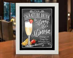 Marry Me Mimosa Signature Cocktail Drink Sign for by RockinChalk