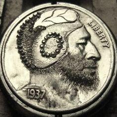 CHRISTOPHER STINNETT HOBO NICKEL - 1937 BUFFALO PROFILE Hobo Nickel, Coin Art, Buffalo, Coins, Carving, Profile, Artist, User Profile, Rooms