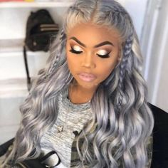 Silver Fashion Solid Hign-temperature Resistance Wigs Color Ombre Hair, Hair Colors, Brazilian Lace Front Wigs, Brazilian Hair, Curly Hair Styles, Natural Hair Styles, Straight Weave Hairstyles, Corte Y Color, Box Braids Hairstyles