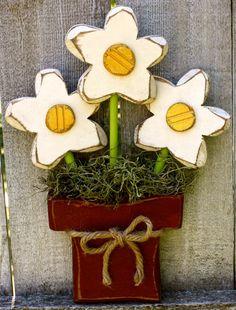 Chunky Wood Flower Pot Trio