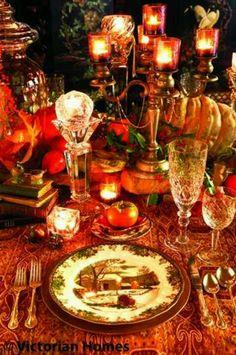 A Victorian Thanksgiving Dinner- Autumn Tea Punch Vintage Thanksgiving, Thanksgiving Tablescapes, Thanksgiving Feast, Thanksgiving Decorations, Fall Decorations, Fall Table Settings, Beautiful Table Settings, Place Settings, Autumn Tea