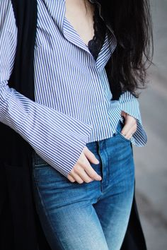 striped shirt lace and jeans