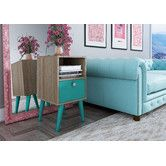 Manhattan Comfort Accenuations Abisko Stylish Side Table with Cubby and in Oak and Aqua Modern End Tables, White Side Tables, Corner Table, Cubbies, Open Shelving, All Modern, Bedroom Furniture, House Furniture, White Furniture