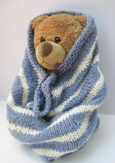 Organic cotton baby cocoon blanket blue white by SimpleKnitShop