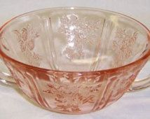 Federal Pink SHARON CABBAGE ROSE 5 Inch Two Handled Cream or Boullion Soup Bowl
