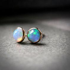Bezel set 5mm faceted opal stud earrings set in by hartleystudio