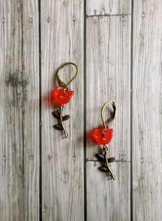 Wild At Heart poppy red flower earrings by ClassicallyRomantic, $11.00