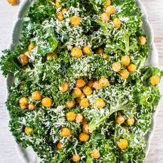 Kale Caesar Salad with Fried Chickpeas - A fresh spin on Caesar salad with an easy, whisk-together dressing loaded with bold flavor!