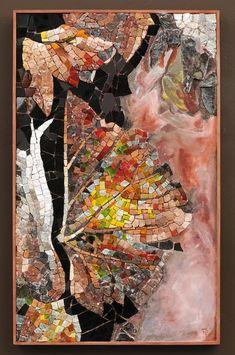 Patricia Hourcq Automne en empourpre le vent, mars 2011 Marbre, granit, terre cuite, émaux de verre, enduit à fresque