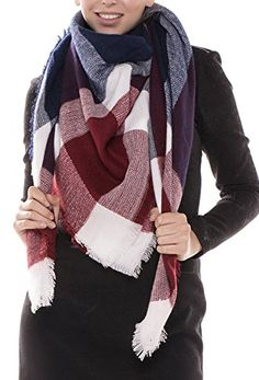 "MIRMARU Women's Oversized Large Plaid Checked Tartan Fashion Blanket Scarf Wrap Shawl with Hair Tie.(Burgundy and Navy,17). OVERSIZED SCARF- Dimensions Length- 60"" x Width- 60"" (IN) Our plaid scarf can be folded and tied in many different ways, so it's more versatile than other women's scarves. The extra fabric makes our women plaid blanket scarf great at keeping you warm. MATERIAL - 100% Acrylic. Extremely soft as Cashmere feel. Soft fabric that feels great against the skin. You'll never…"