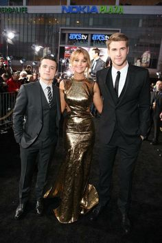 Peeta, Katniss, Gale in The Hunger Games World Premiere at Nokia Theater L.A. Live