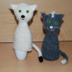Katzen Eierwärmer aus Strickfilz Wolle