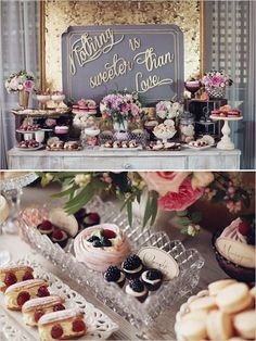 Nothing is sweeter then love dessert table.  Cute backdrop and luscious looking desserts!