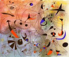 1940 Joan Miro (Spanish Surrealist Painter and Sculptor, Constellation The Morning Star Star Painting, Painting & Drawing, Painting Abstract, Miro Artist, Joan Miro Paintings, Tomie Ohtake, Spanish Painters, Morning Star, Morning Rain