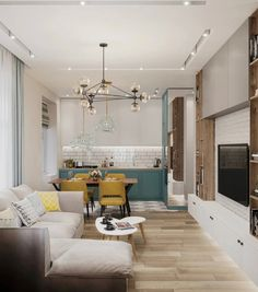 Living Room And Kitchen Together, Living Room And Kitchen Design, Living Room Plan, Home Room Design, Small Living Rooms, Living Room Designs, Small Apartment Plans, Small Apartment Interior, Condo Interior
