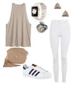 """""""Cream"""" by sweet-brownsuga ❤ liked on Polyvore featuring Topshop, Yves Saint Laurent, adidas and Ileana Makri"""