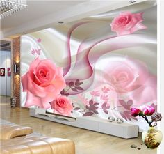 3D Mural sitting room the bedroom TV background Embossed rose wallpaper 4069