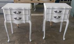 "Do you need some nightstands? Check out this cute French provincial set!  The dimensions are 18"" L, 14"" W, 27"" H. SOLD!! for $275"