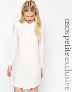 ASOS+PETITE+Swing+Shirt+Dress+with+Long+Sleeve