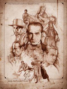 "Rodolfo Valentino,illustration from the book ""Hombres de Hollywood"".Nacho Castro.Diábolo ediciones"
