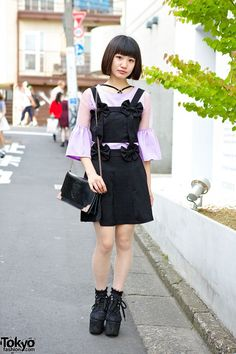 Romantic Standard Bow Dress, Sheer Top Lace Platforms in Harajuku