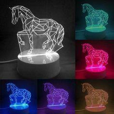 3D Illusion Horse LED Night Light/Lamp (7 changable colors) | Optical Illusion | Bedroom Decor