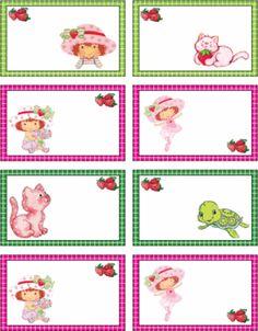 Free printable Strawberry Shortcake Tags Gift Tags/ stickers/ boxes/ cards, etc Strawberry Shortcake Characters, Strawberry Shortcake Birthday, Party Printables, Free Printables, Valentine Activities, Free Printable Gift Tags, Holly Hobbie, Clipart, Birthdays