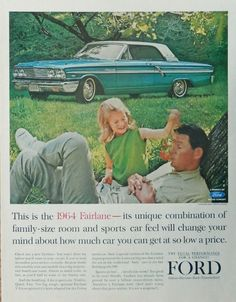 1964 Ford Fairlane  print ad  Color Illustration   500 sport coupe  original 1963 Magazine Art