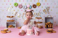 Charlotte is One 1st Birthday Photoshoot, First Birthday Party Themes, Donut Birthday Parties, First Birthday Pictures, Baby Girl First Birthday, Donut Party, First Birthday Cakes, Birthday Ideas, Birthday Gifts