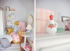 Love the color theme. Light grey walls, blues, reds, yellows, poppy to accent.