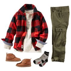 ***NOT THE SHOES*** Cargos and a henley keep him casually cool from the bus stop to band practice. Prep this look for fall with a bold buffalo check layer and faux leather boots. Toddler Christmas Outfit, Boys Christmas Outfits, Christmas Photos, Xmas Pics, Holiday Outfits, Plaid Outfits, Family Outfits, Kids Outfits, Tomboy Outfits