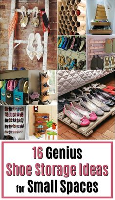 16 Genius Shoe Storage Ideas for Small Spaces - Lots of shoes, but short on shoe storage? So I'm on the hunt for the best shoe storage for small spaces. Are you interested? Shoe Storage Small, Shoe Storage Ottoman, Small Space Organization, Small Bathroom Storage, Ikea Storage, Storage Spaces, Shoe Storage Ideas For Small Spaces, Shoe Storage Solutions, Small Closet Space
