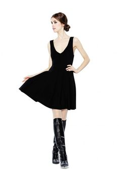 BAILEY PLUNGING V-NECK FLOUNCE DRESS in BLACK by Alice + Olivia