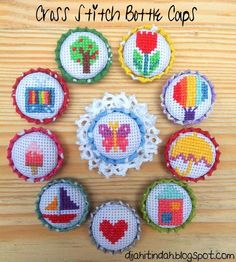 Thrilling Designing Your Own Cross Stitch Embroidery Patterns Ideas. Exhilarating Designing Your Own Cross Stitch Embroidery Patterns Ideas. Tiny Cross Stitch, Cross Stitch Designs, Cross Stitch Patterns, Cross Stitching, Cross Stitch Embroidery, Embroidery Patterns, Bottle Cap Crafts, Bottle Caps, Stitch Book
