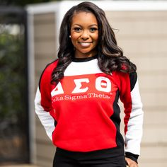 Delta Sigma Theta Apparel, Retro Sweatshirts, Delta Girl, Varsity Sweater, Custom Greek Apparel, Satin Jackets, Greek Clothing, Fashion Forward, Crew Neck