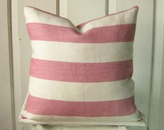 Coastal Pillow Kravet SALE Beach Cottage Windsor Smith Cap DeLuca Rosette Cabana Stripe Fabric - Pink Raspberry Orchid Cream