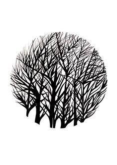 Drzewo Reprodukcja / Original Sztuka / Black and White od TheToteGallery