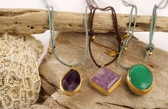 HAPPY STONE PENDANT.Happy Stone pendant in natural semiprecious gemstone mounted in silver plated in gold. Original design inspirated in the beauty and magic of nature. Closure with adjustable silk cord available in different colors. #piabarcelona #happystone #style