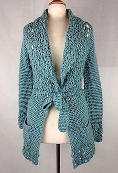 Kenji Handknit Chunky Crochet Belted Cardigan Sweater Wool Acrylic Large Blue