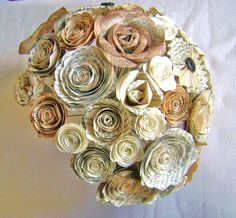 The original Cara bouquet tone on tone ivory tan mixed flowers wedding  book page spiral and pinwheel and paper roses hymnal toss bridesmaid