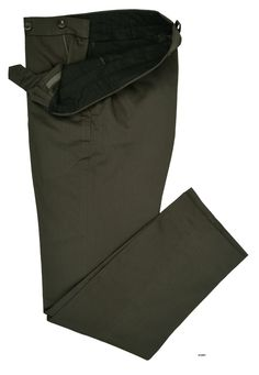 Luxire Graphite Green Soft Plain Chinos: http://custom.luxire.com/products/graphite_green_soft_plain_chinos  Consists of standard extended closure with front slant pocket.