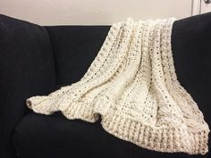 "Cabled Wedding Blanket , or what I like to call ""The baby-makin' blanket"". This crocheted blanket uses two different crochet stitches and a ..."