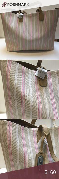 Coach XL tote PVC XL tote - khaki/pink NWT Coach Bags Totes