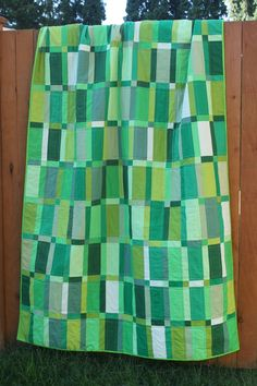 * Emerald Bracelet Lap Quilt by Rachel at Snippets of Sweetness. Green rectangles with green sashing - fabulous!  Looks like Plain Spoken from The Modern Quilt Workshop (Ringle & Kerr) or their Lakeside pattern.