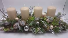 Bildergebnis für adventsdeko Christmas Candle, Christmas Crafts, Xmas, Christmas Tree, Candle Arrangements, Centerpieces, Table Decorations, Pillar Candles, Diy And Crafts