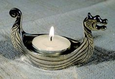 Viking Ship Pewter Tealight Candleholder