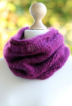 Magentalicious Cowl: made with 100+ yards of super bulky yarn and size US 15 needles