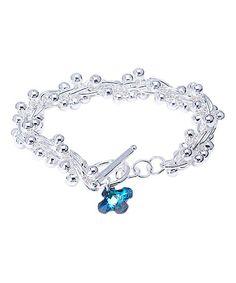 Look what I found on #zulily! Bermuda Blue Swarovski® Crystal & Sterling Silver Charm Bracelet #zulilyfinds
